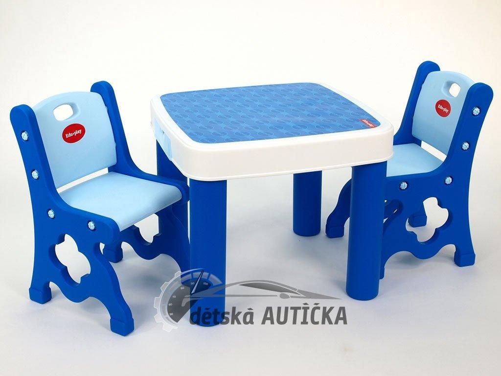 Sada dvou židliček a stolku se 2 šuplíky pro dětičky, modrý,