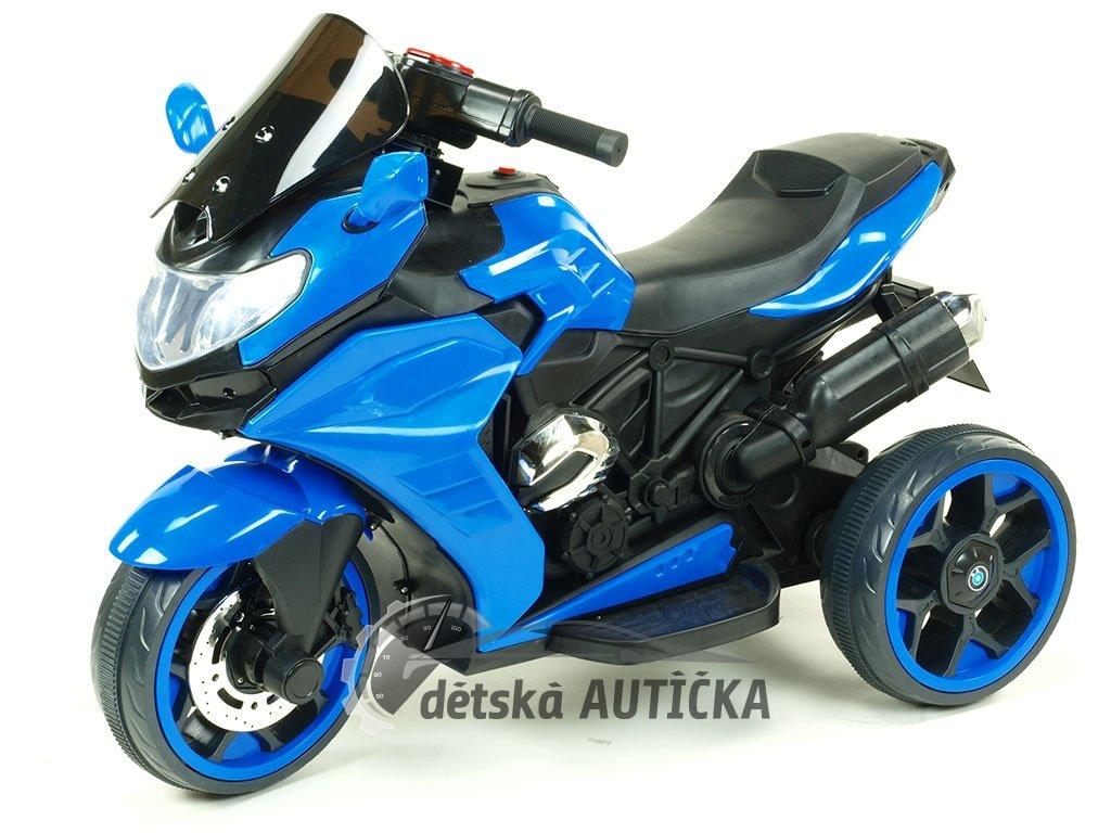 Elektrická motorka Tricykl Dragon s mohutnými výfuky, motory 2x12V, digiplayer USB, Mp3, voltmetr, LED osvětlení, modrý
