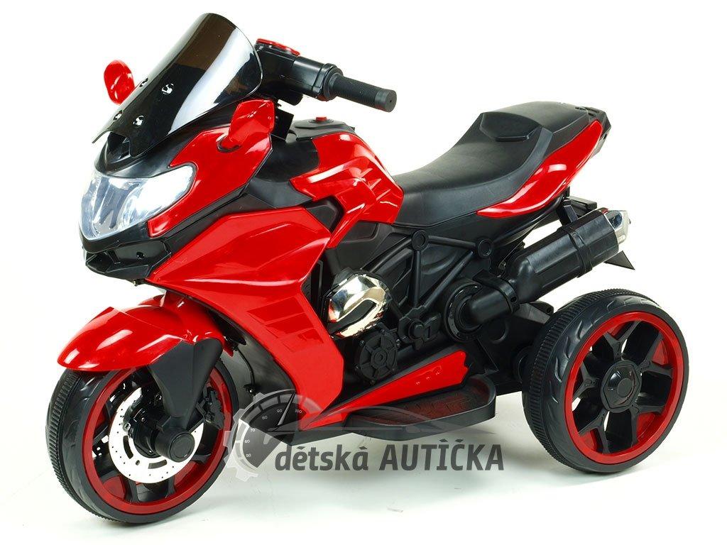 Elektrická motorka Tricykl Dragon s mohutnými výfuky, motory 2x12V, digiplayer USB, Mp3, voltmetr, LED osvětlení, červený