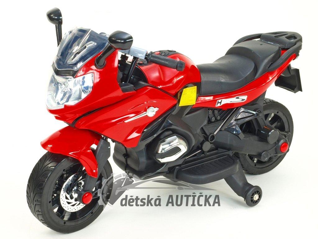 Elektrická motorka silniční 12V, 2x motor, EVA kola, voltmetr, USB, TF, Mp3, LED osvětlení, červená