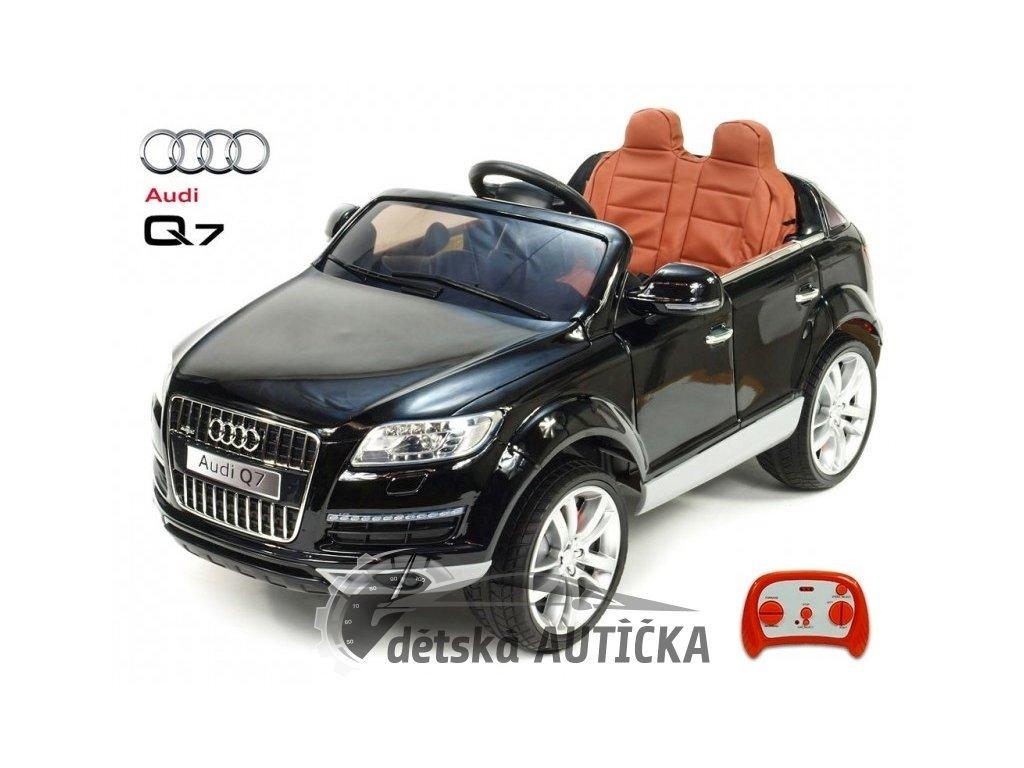 Elektrické SUV Audi Q7 s 2.4G DO, plynulým rozjezdem, přehrávačem USB, pérováním, EVA koly, LED, délka 129cm, 12V, lakované čer