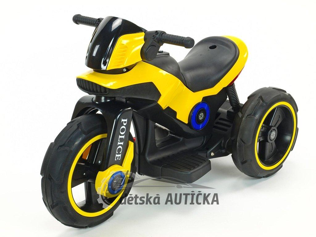 Elektrická motorka fantastická POLICE na velikých EVA kolech, atraktivní design, USB,TF,Mp3, 2x náhon, 2 motory 6V, žlutá