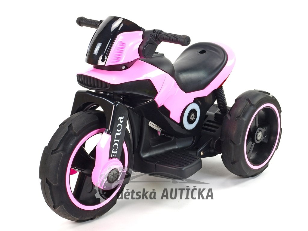 Elektrická motorka fantastická POLICE na velikých EVA kolech, atraktivní design, USB,TF,Mp3, 2x náhon, 2 motory 6V, růžová