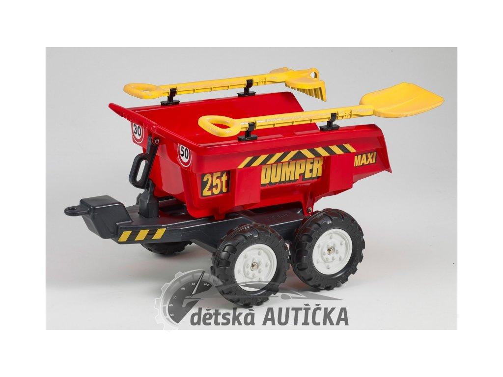 Vlek za traktor Dumper maxi veliký, výklopný s lopatou a hráběmi, 4 kolový, délka 87cm, Made in France
