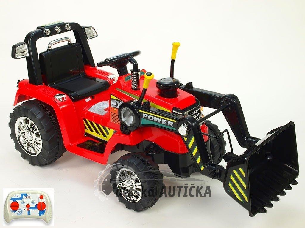 Elektrický traktor 12V s 2,4G dálkovým ovládáním, plynulým rozjezdem, ovladatelnou lžící, mohutnými koly a konstrukcí, zvukovým
