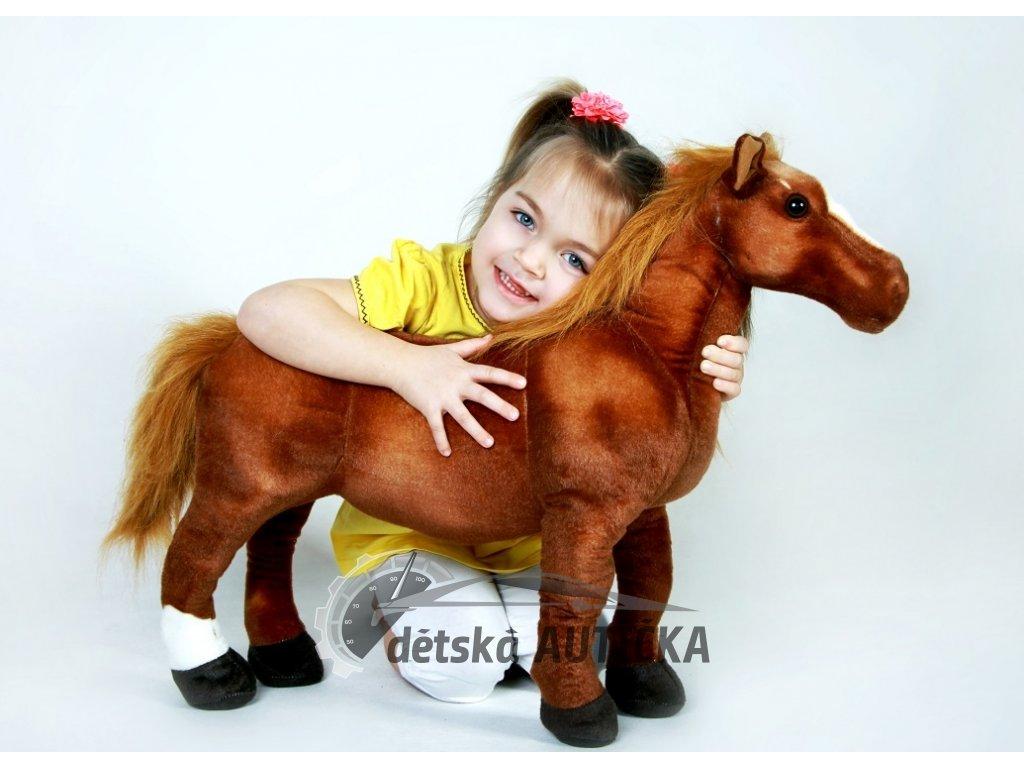 Krásný plyšový koník Hnědák, mazlíček dětí, 65cm,