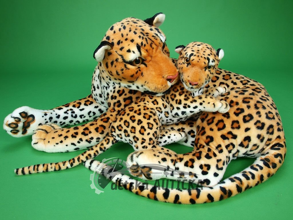 Plyšová leopardí máma s mládětem, délka 140/65cm