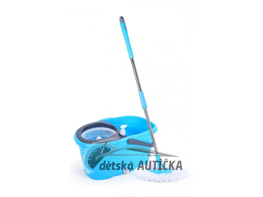 Rotační mop 360°, luxusní madlo tyče, máchání + ždímání, dávkovač saponátu, zátka pro vylévání, č.29,