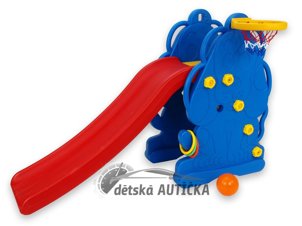 Dětská skluzavka pejsek s míčovým košem, míčem a kroužky na házení