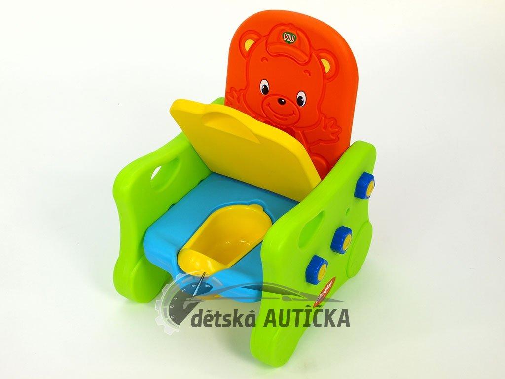 Křesílko s čalouněným sedákem, po odklopení sedáku s hracím nočníkem, pro kluky