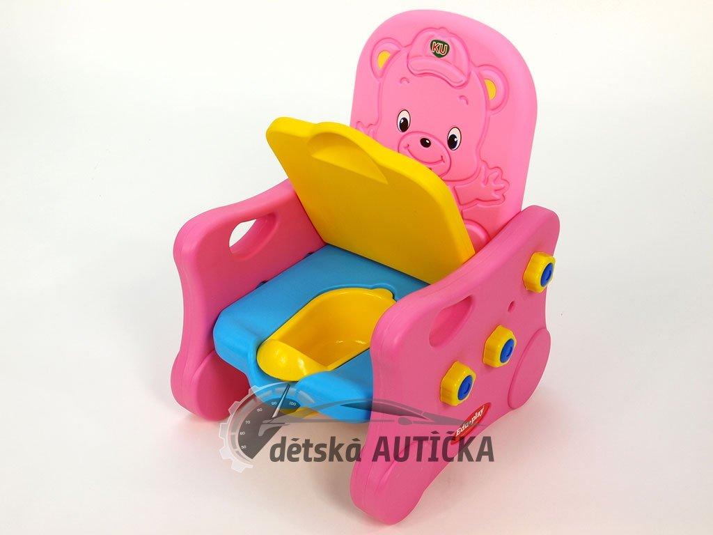 Křesílko s čalouněným sedákem, po odklopení sedáku s hracím nočníkem, pro holky