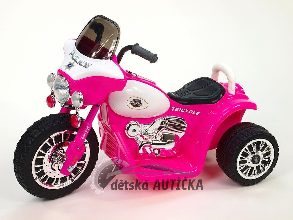 Elektrická motorka Chopper Harleyek na masivních kolech pro začínající harleykáře, 6V, růžový