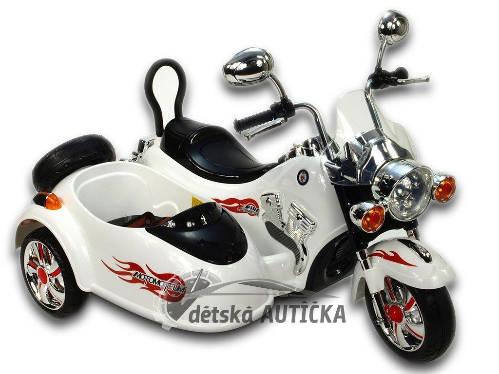 Elektrická motorka se sajdkárou, 2xmotor, 12V, neuvěřitelné LED efekty, pérováním nápravy, bílá