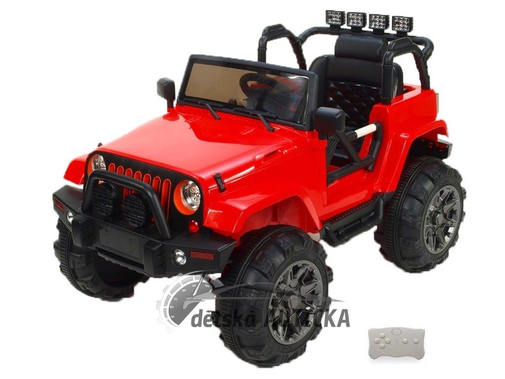 Elektrický džíp Wrangler s 2,4G DO, EVA koly s ložisky, čalouněnou sedačkou, USB, SD, Mp3, FM rádiem, pérováním, červený