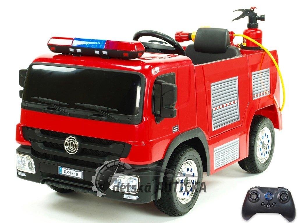 Elektrické hasičské auto s 2,4G DO, hasící výbavou, EVA koly, otvíracími dveřmi, LED osvětlením, zvukovými efekty