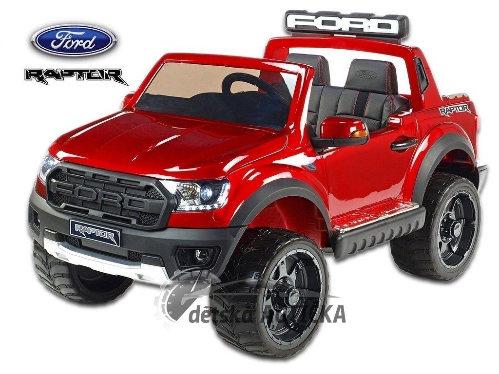 Elektrický pickup Ford Raptor s 2.4G DO, USB, FM, bluetooth, LED a zvukové efekty, otvírací dveře a kapoty, pérování, EVA kola,