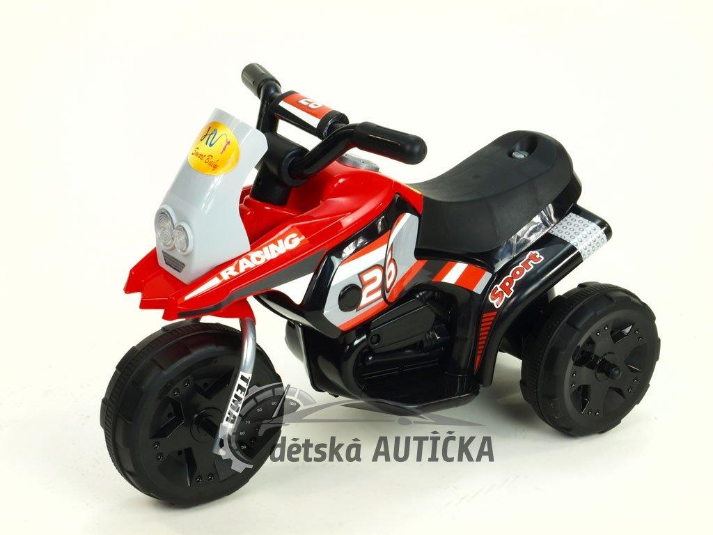 Elektrická motorka Racing sport 6V, s 2 světly a muzikou, pro nejmenší, červená