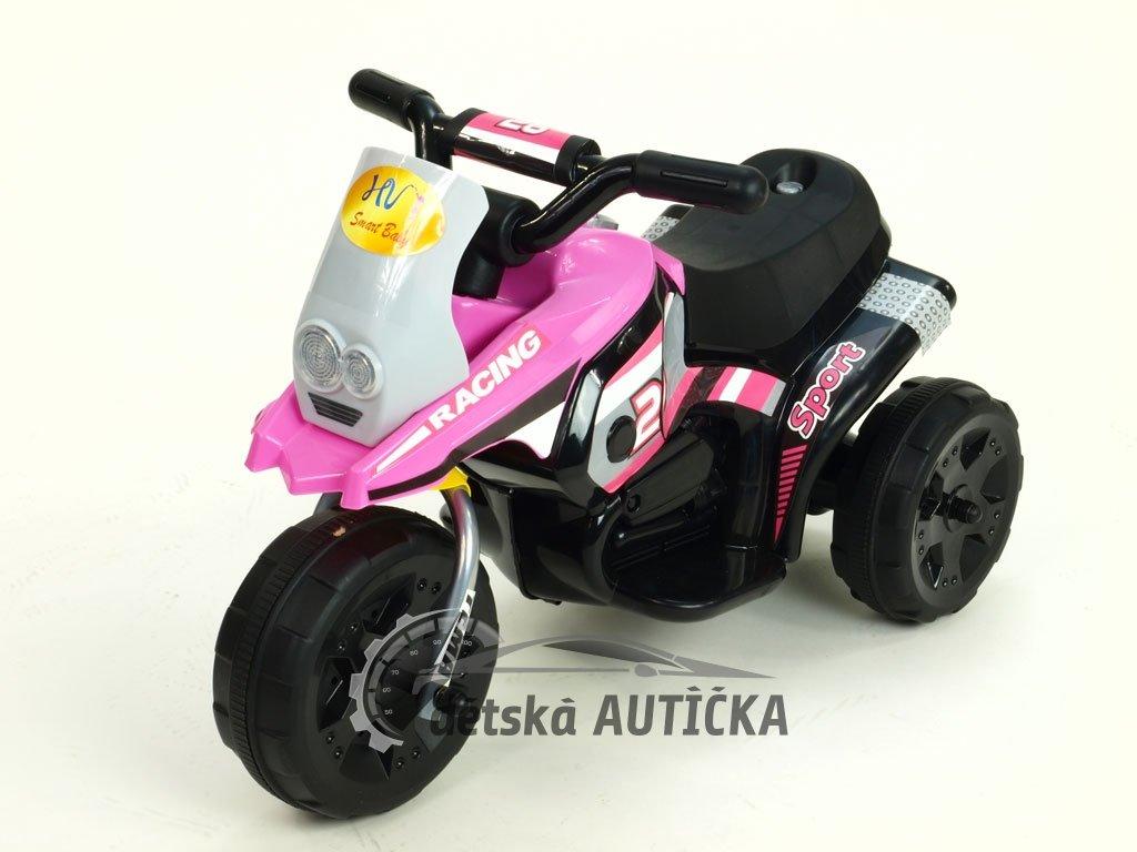 Elektrická motorka Racing sport 6V, s 2 světly a muzikou, pro nejmenší, růžová