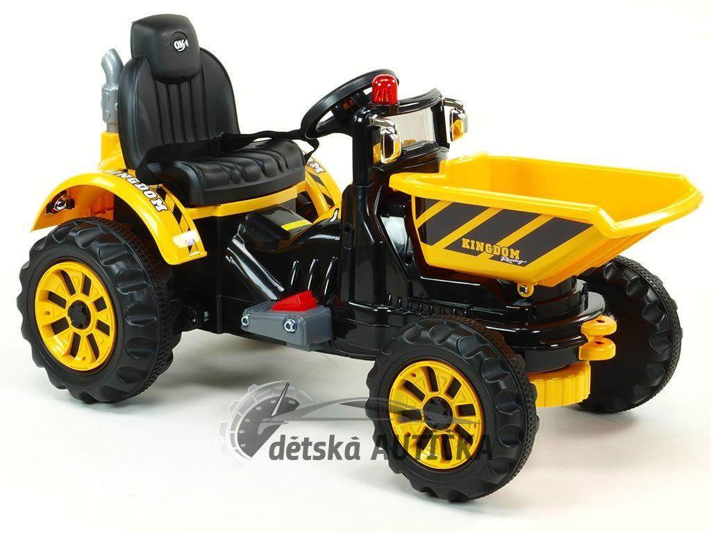 Elektrický traktor Kingdom s výklopnou korbou, mohutnými koly a konstrukcí, 2x motor 12V, 2x náhon, žlutý
