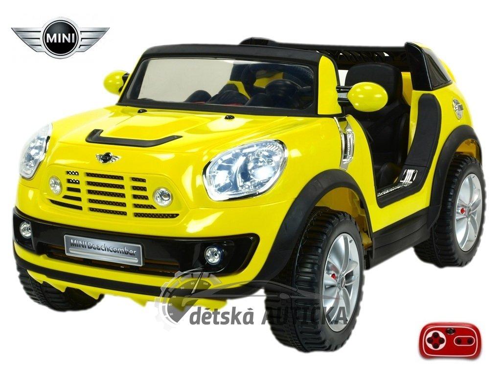 Elektrické auto MINI Beachcomber střední velikost - plážové vozítko s 2,4G DO, plynulým rozjezdem, Mp3, voltmetrem,12V, žlutý
