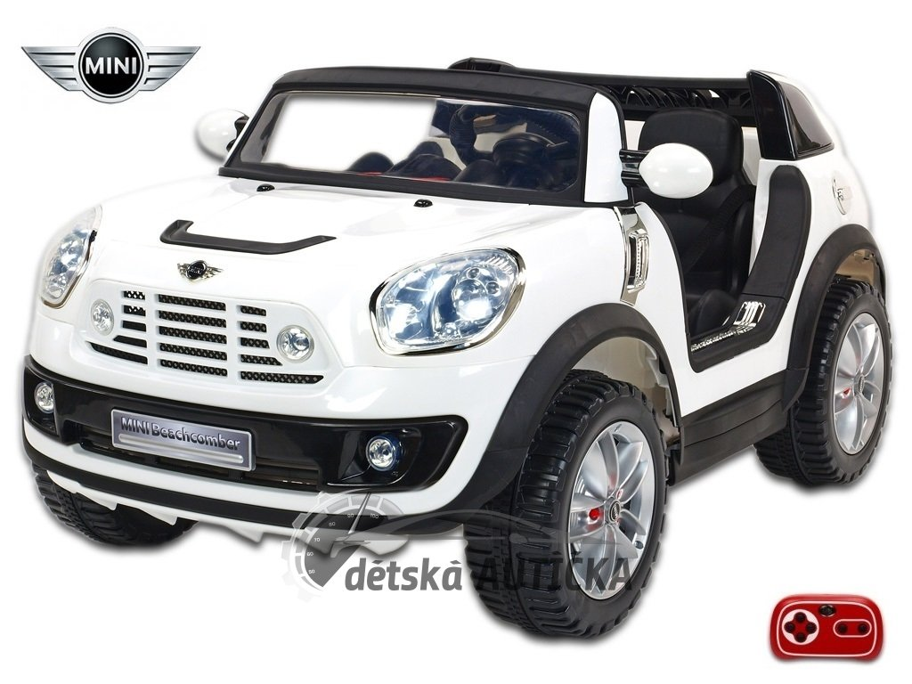 Elektrické auto MINI Beachcomber střední velikost - plážové vozítko s 2,4G DO, plynulým rozjezdem, Mp3, voltmetrem,12V, bílý