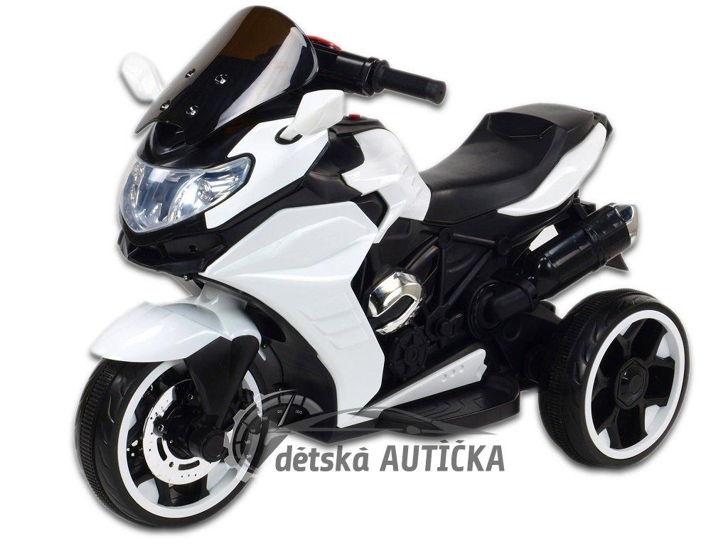 Elektrická motorka Tricykl Dragon s mohutnými výfuky, motory 2x12V, digiplayer USB, Mp3, voltmetr, LED osvětlení, bílý