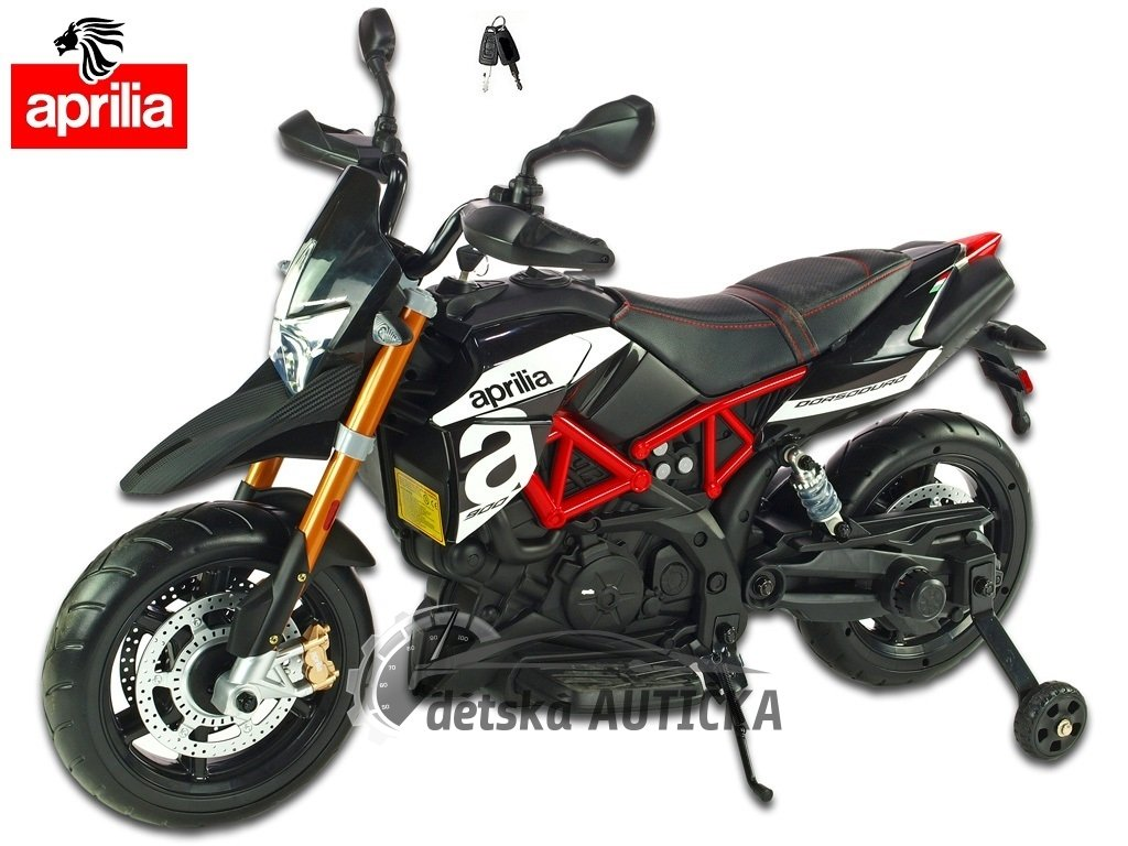 Elektrická motorka Aprilia Dorsoduro s  klíčky, USB, SD, voltmetrem, EVA koly, čalouněnou sedačkou, stavitelnými tlumiči, 2x mo