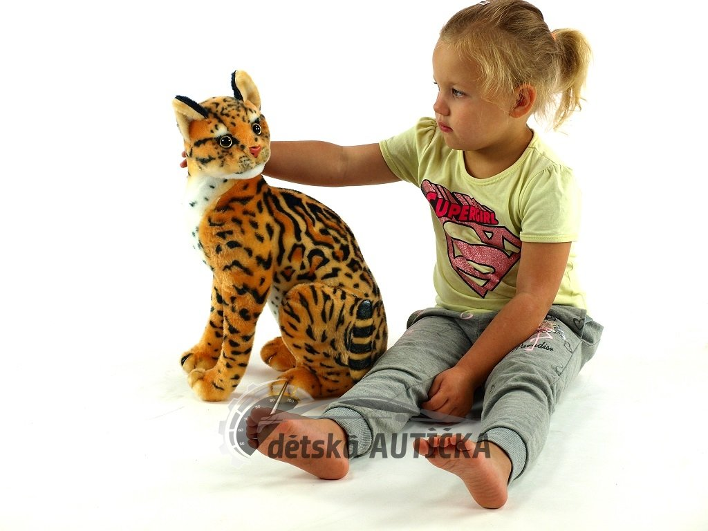 Plyšová sedící kočka Micka ocelot, výška 45 cm