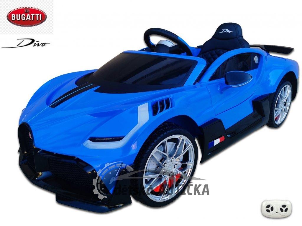 Elektrické auto Bugatti Divo s 2.4G DO, otvíracími dveřmi, EVA koly, USB, LED osvětlení, luxusní sporťák, modrý