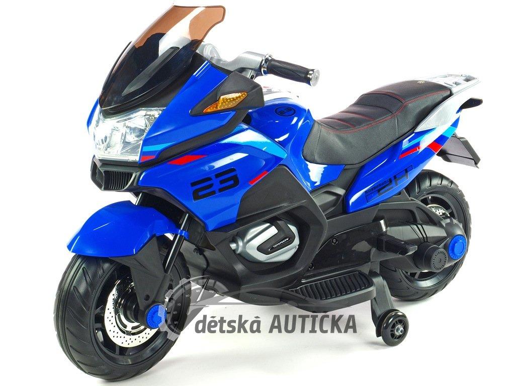 Cestovní motorka Topspeed s plynovou rukojetí a nožní brzdou, modrá