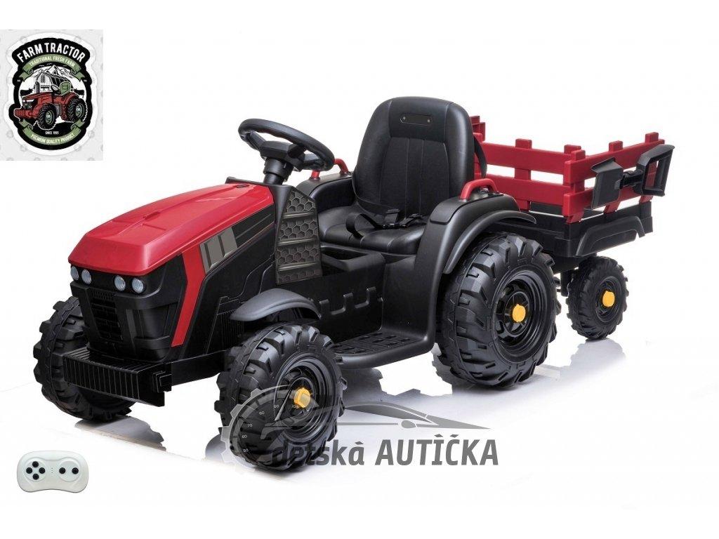 Farmářský traktor s 2,4G, vlekem a lopatou, červený