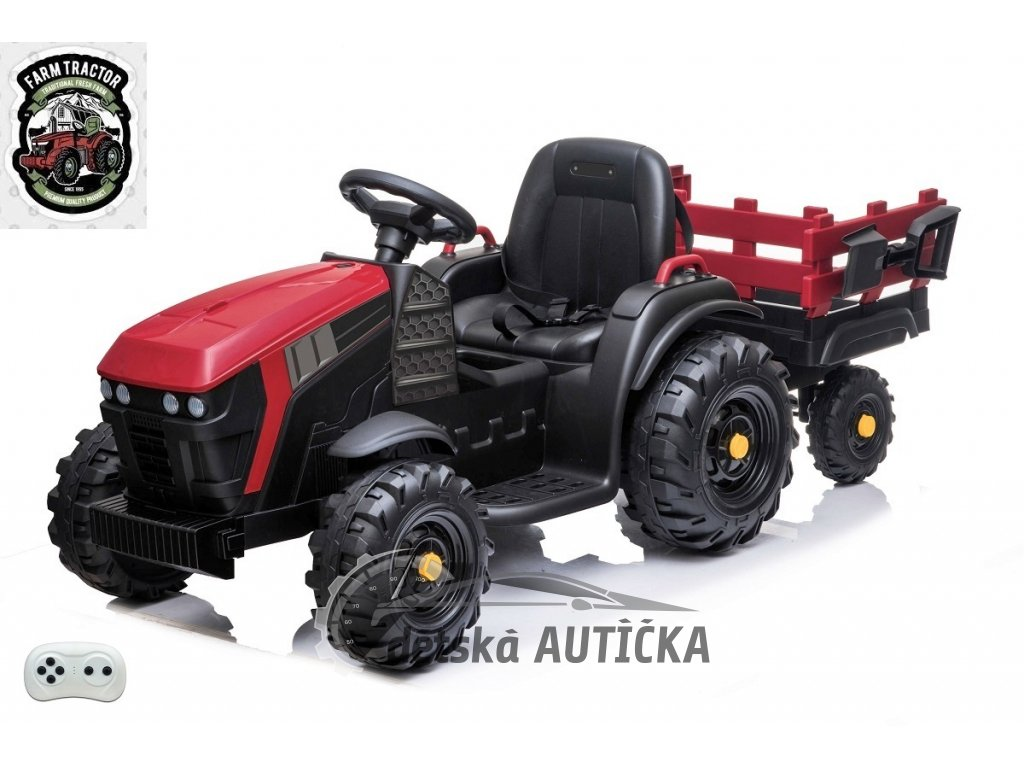 Farmářský traktor s vlekem a lopatou, červený