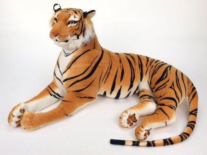 Obrovský plyšový tygr ležící, délka 200cm, oranžový