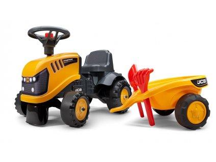 Odrážedlo JCB traktor 215 s vozíkem a nářadím, délka 91cm, Made in France,