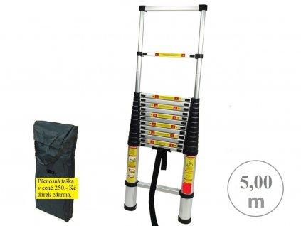 Teleskopický alu žebřík PROFI 5m s přepravní taškou, max. nosnost 150kg, váha 15kg, délka po složení 106cm,