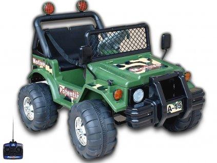 Elektrický džíp vojenský mohutný s dálkovým ovládáním, 2x motory 45W, 12V, sedačka pro 2 menší děti