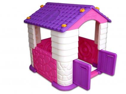 Skládací hrací plastový domeček, do pokoje i na zahradu, fialový