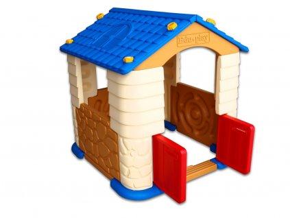Skládací hrací plastový domeček, do pokoje i na zahradu, hnědý,