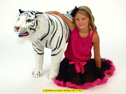 Velký plyšový tygr stojící, délka 178cm, výška 74cm, bílý