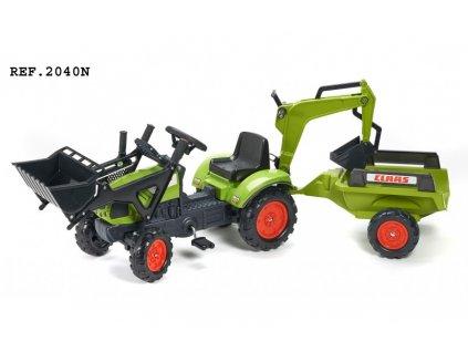 Šlapací traktor Claas Arion 410 se 2 funkčními lžícemi, 2 kolovým valníkem, délka 181cm, Made in France,