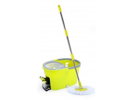 Rotační mop 360°, máchání + ždímání nožní šlapkou nebo ručně tyčí, dávkovač saponátu, zátka pro vylévání, č. 27,