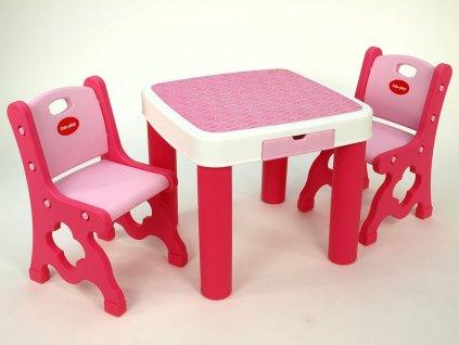 Sada dvou židliček a stolku se 2 šuplíky pro dětičky, růžový,