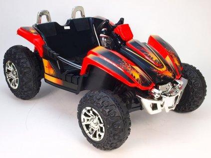 Elektrická Bugyna dvoumístná, 3 rychlosti, 2 motory, 12V, červená