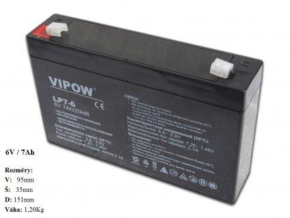 Gelová nabíjecí baterie 6V - 7Ah/ 20HR,