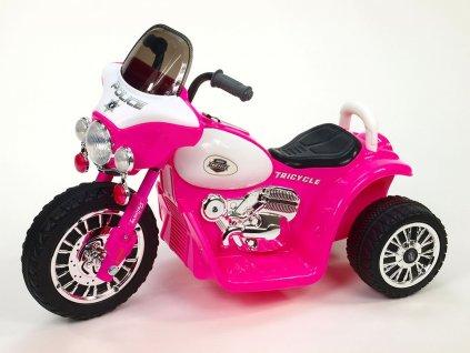 Chopper Harleyek na masivních kolech, 6V, růžový