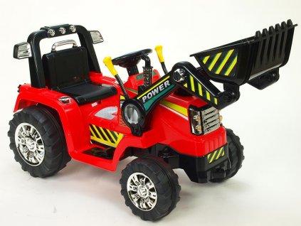 Elektrický traktor 12V s ovladatelnou lžící, mohutnými koly a konstrukcí, zvukovými a světelnými efekty, 2xnáhon, červený