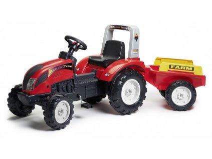 Veliký šlapací traktor Falk Ranch, 2 kolovým valníkem, délka 191cm, Made in France,
