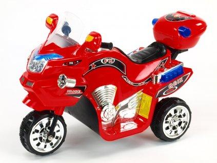 Elektrická motorka FX střední velikost, s barevnými LED efekty, hudbou, otvíracím kufříkem, 6V, červená