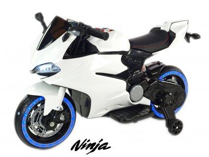 Závodní motorka Ninja s plynovou rukojetí a nožní brzdou, bílá