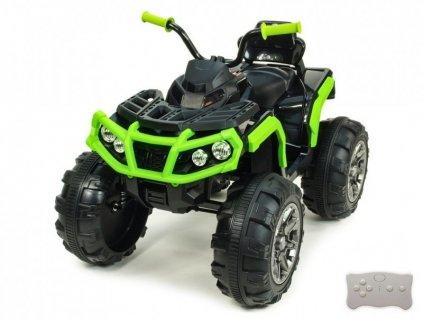 Elektrická čtyřkolka Predator s 2,4G DO, EVA koly, FM, USB, SD, Mp3, LED osvětlením, čalouněnou sedačkou, pérováním, 2x motor,